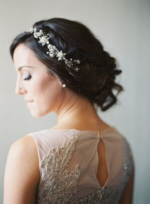 Beaded Wedding Gown Details, Flower Headband