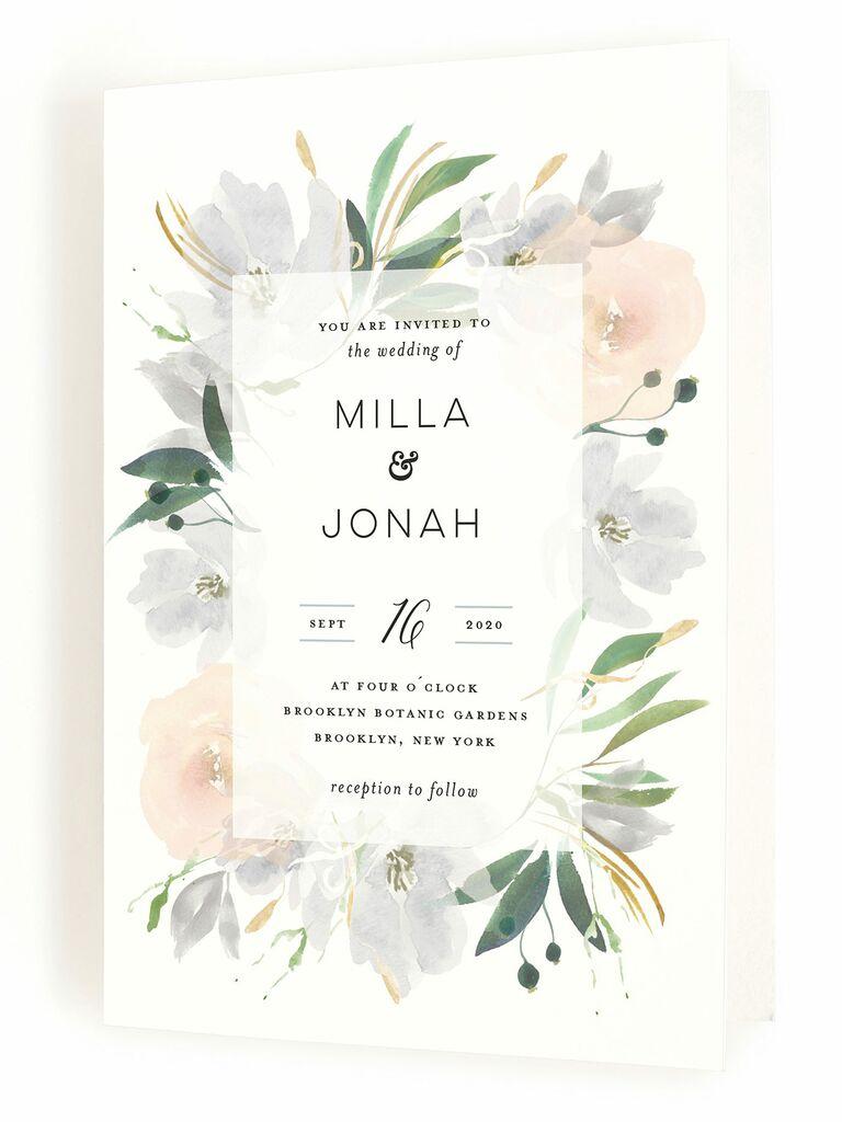 Minted floral folding spring wedding invitation