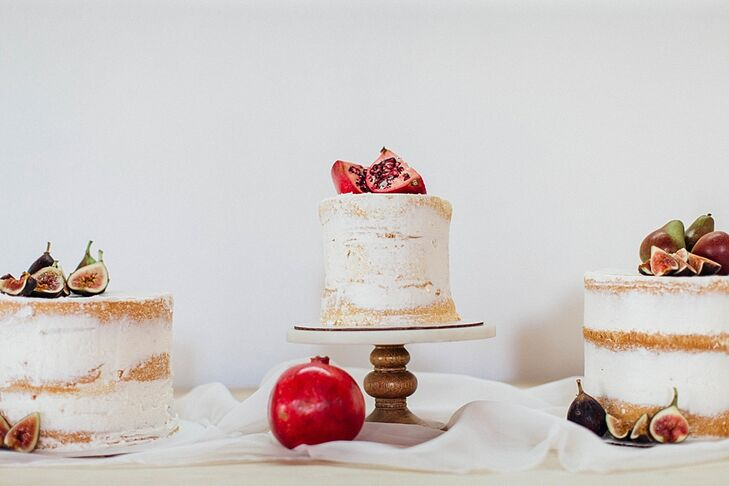 Cakes Topped with Fresh Figs and Pomegranates