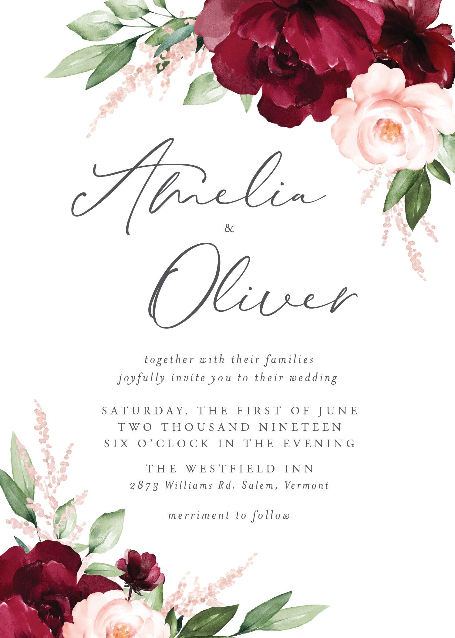 Customizable wedding invitation featuring a script font over a neutral background with vibrant flowers at opposing corners.