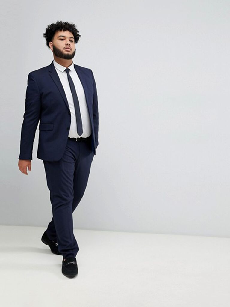 Navy plus size suit for formal wedding