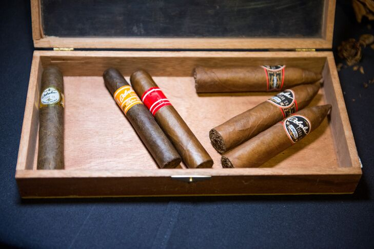 One of the couple's favorite touches was the cigar roller who hand rolled cigars throughout the night.