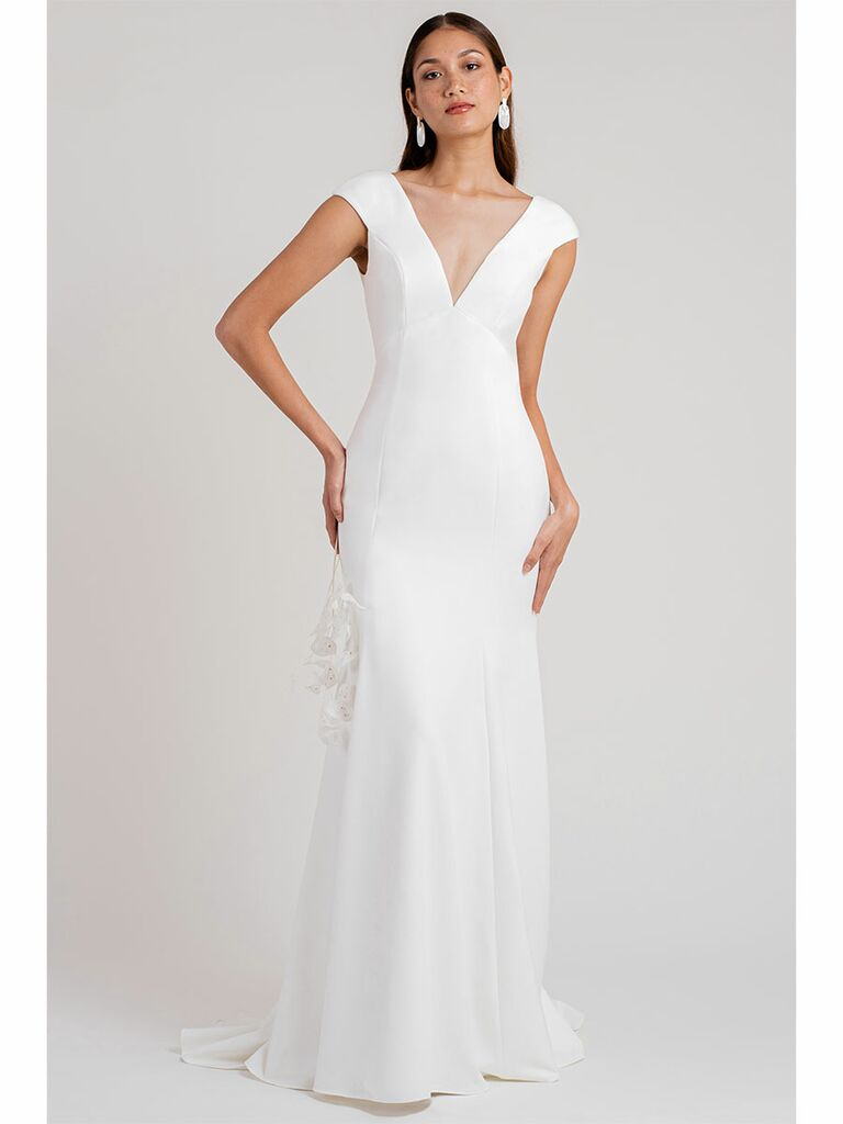 Jenny Yoo weding dress v-neck trumpet gown with cap sleeves
