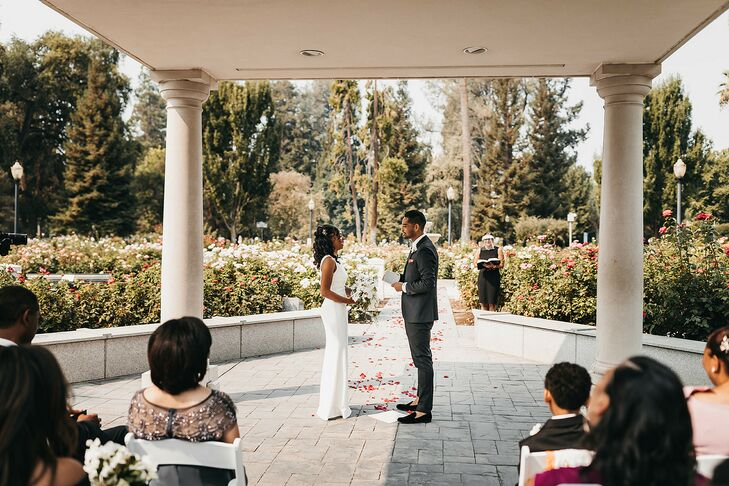 Couple Exchanging Vows in Garden  in Sacramento, California