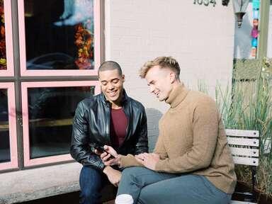 Couple wedding planning on phone
