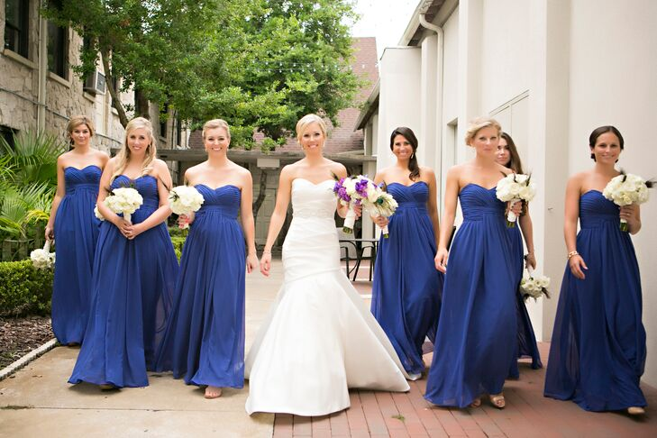 Long Strapless Royal Bridesmaid Dresses