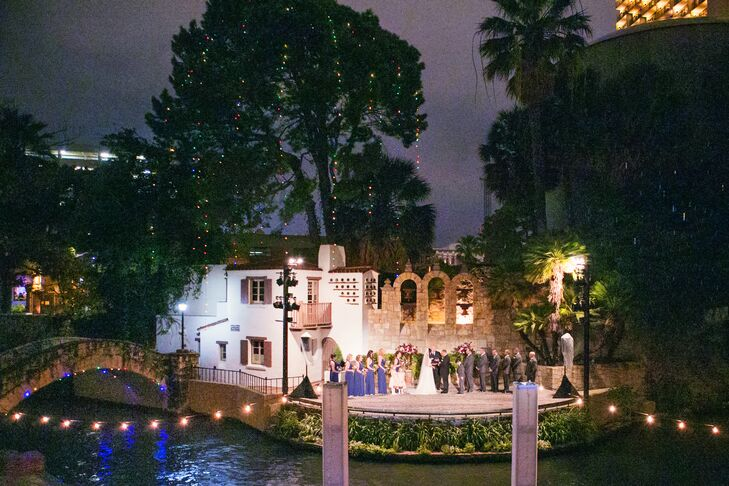The ceremony was held at The Arneson River Theater at night.  The couple rented riverboats with mariachi bands aboard to give their guests the experience and sensations of the San Antonio setting.