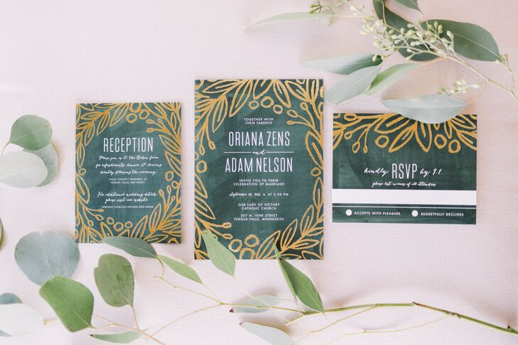 """The invitations set the tone for a green and gold theme with a hint of sparkle to give it a """"glamorous feel."""" Oriana is a graphic designer but didn't want the extra pressure of designing her own wedding invitations. """"It was a huge relief and weight off my shoulders"""" to have someone else design them, she says."""