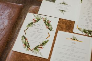 Classic Wedding Invitation with Greenery Design