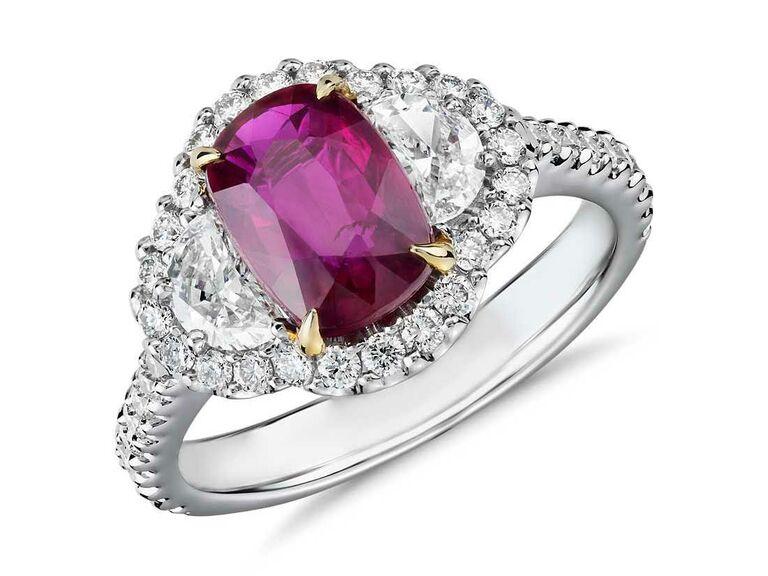 Three-stone cushion cut ruby engagement ring