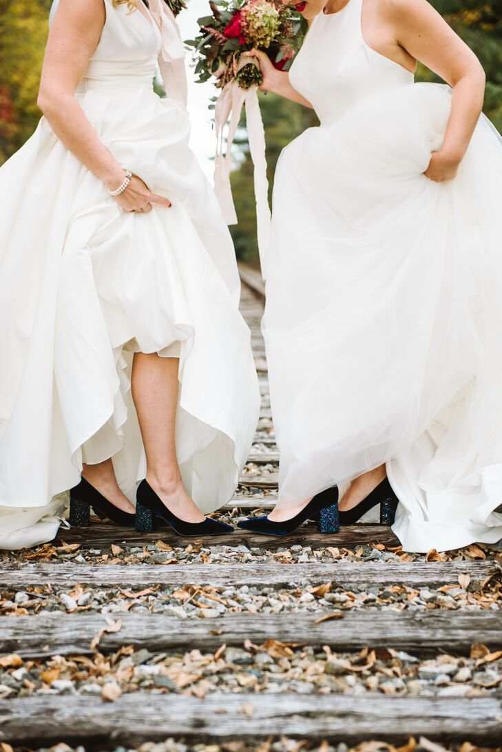 Brides Wearing Blue High Heels