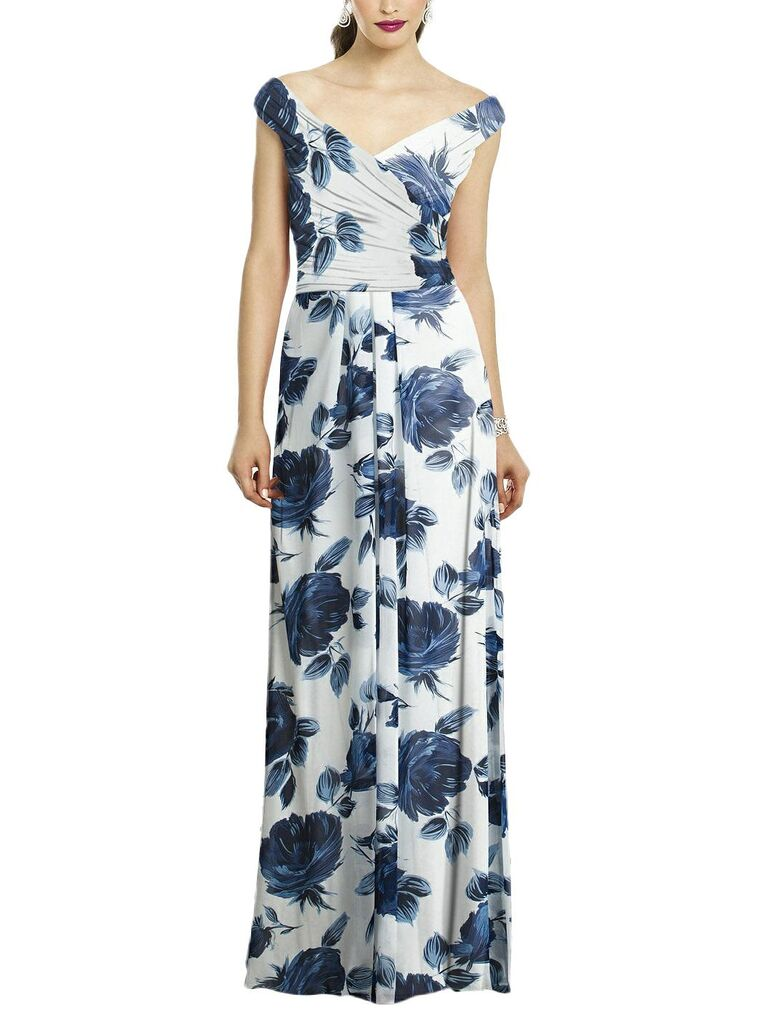 Blue and white floral bridesmaid dress