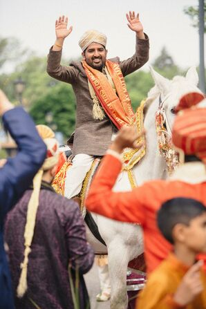 Traditional Indian Baraat on Horseback