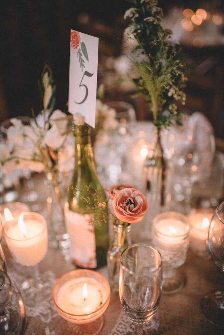 Romantic Wine Bottle, Ranunculus and Candle Centerpiece