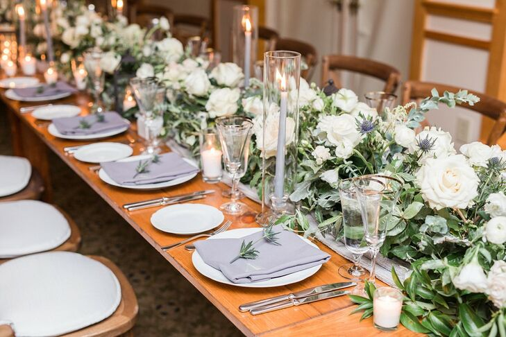 Elegant Rose, Thistle and Greenery Table Runner and Simple Place Settings