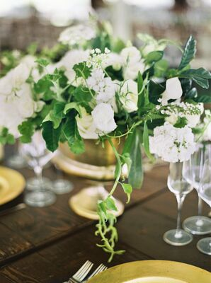 Fresh White and Green Floral Centerpieces