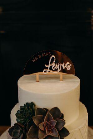 Modern Gold Cake Topper for Texas Wedding