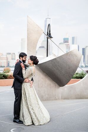 Glamorous Indian Couple with New York City Skyline View in Jersey City