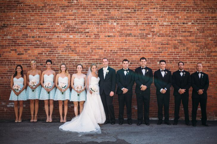Blue Bridesmaid Dresses and Black Tuxedos