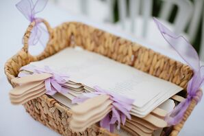 Fan Wedding Programs With Purple Ribbon