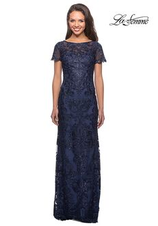 La Femme Evening 26405 Blue Mother Of The Bride Dress