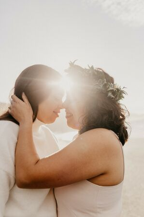 Couple Sharing Embrace During Sunrise in California