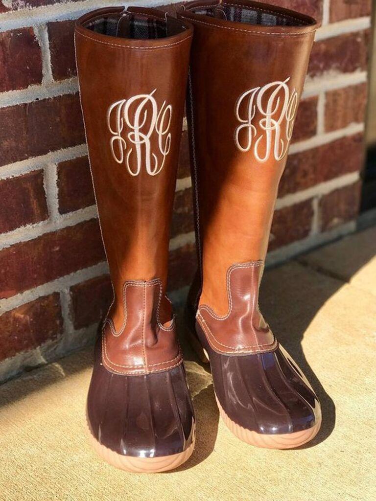 Monogram duck boots for rainy wedding day