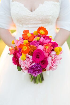 Bright Bouquet with Peonies, Roses, Icelandic Poppies, Coxcomb and Craspedia