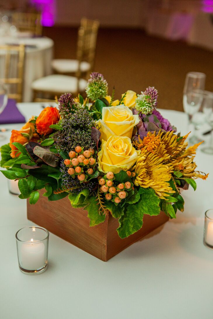 Colorful Floral Centerpieces In Wood Boxes