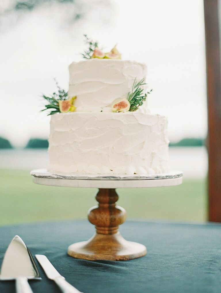 Simple two-tier wedding cake
