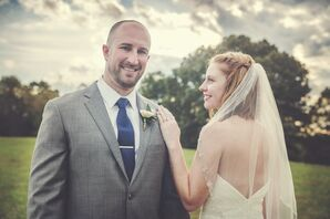 Bride with Short, Braided Hairstyle and Veil and Groom with Gray Suit and Navy Tie