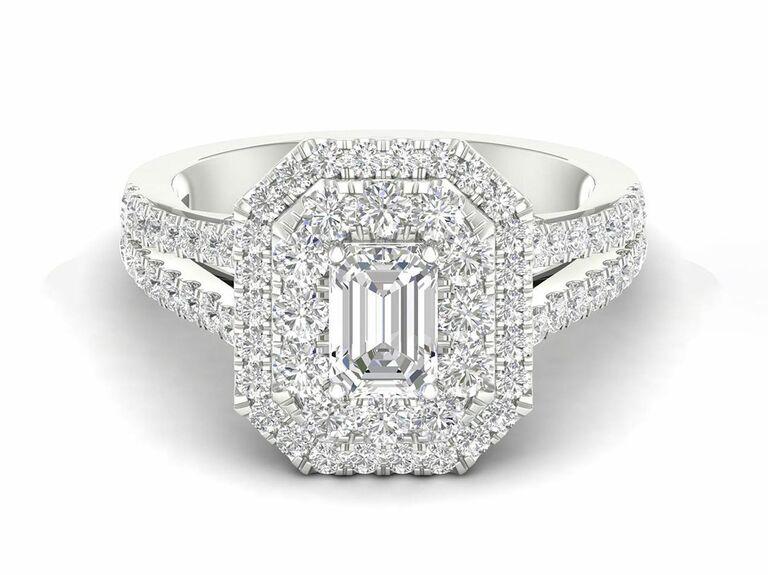 Jenny Packham emerald cut diamond engagement ring with diamond double halo and diamond split shank setting