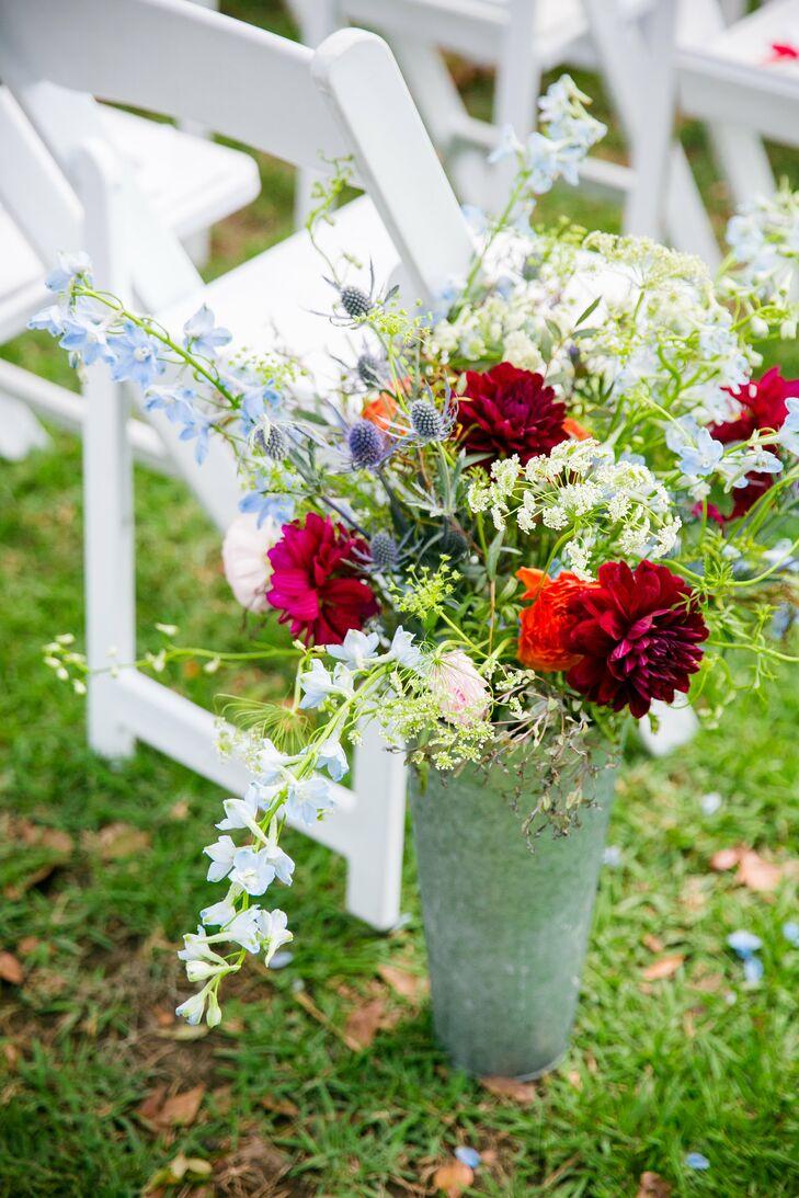 Red Dahlia, Blue Thistle, Queen Anne's Lace Wedding Aisle Decor