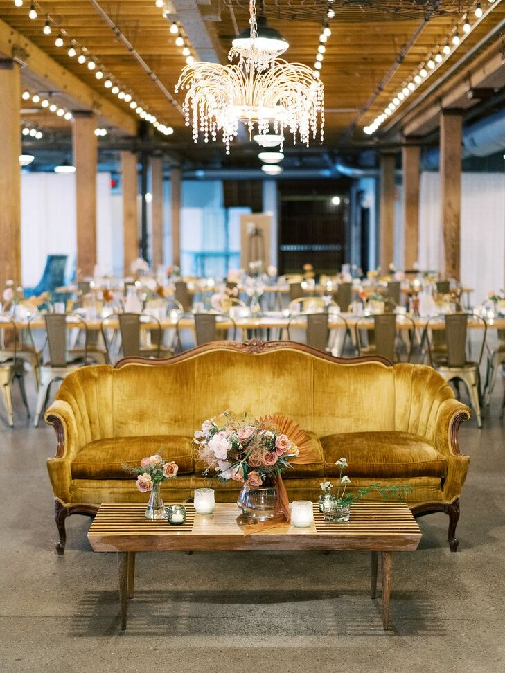 Mustard-Hued Velvet Sofa at Industrial Wedding Reception Venue