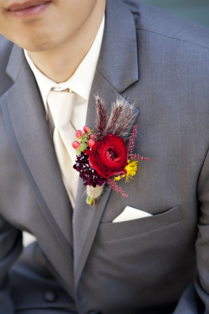 Red Rustic Boutonniere