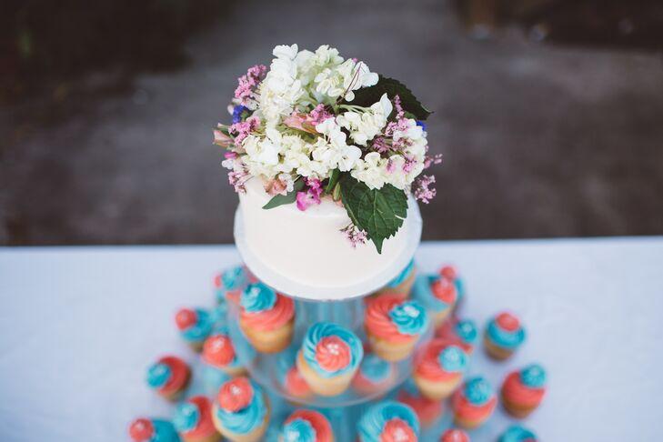 Hydrangea And Wildflower Wedding Cake Topper