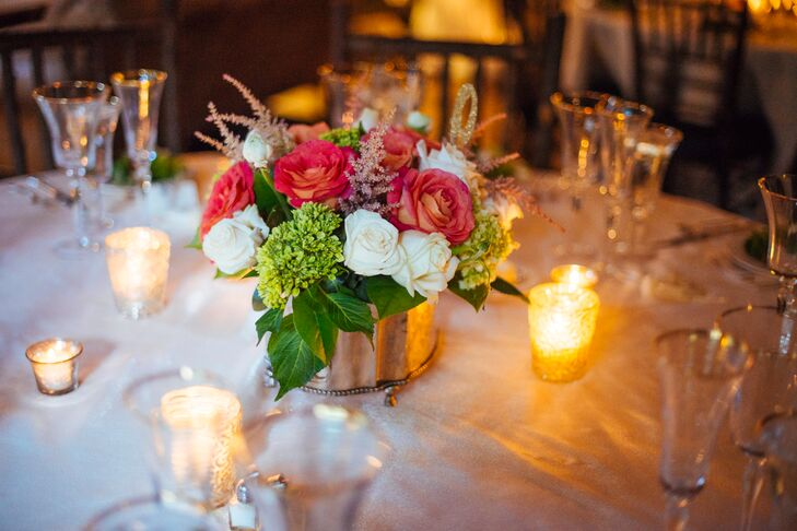 Coral and White Rose Centerpieces