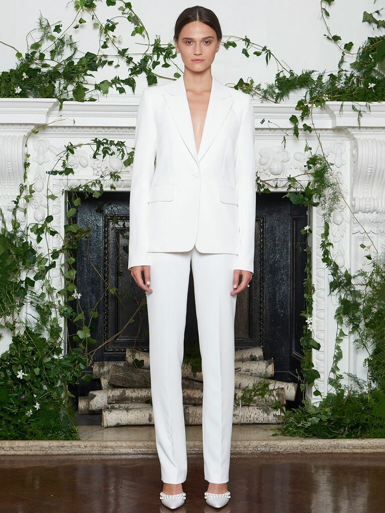 Monique Lhuillier Fall 2018 double-weave stretch crepe tailored wedding pants suit with classic one button tuxedo jacket