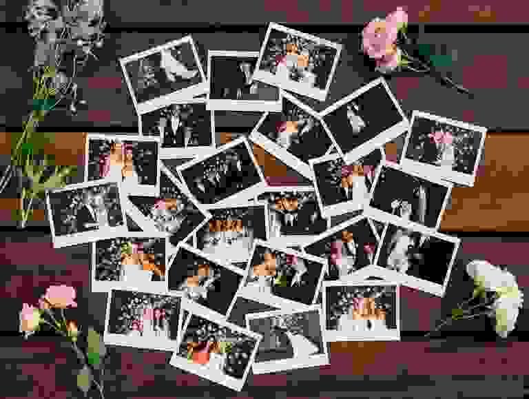 Wedding reception polaroids