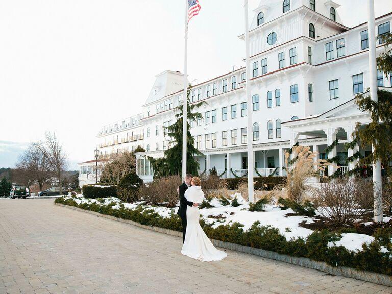 Winter wedding venue in New Castle, New Hampshire.