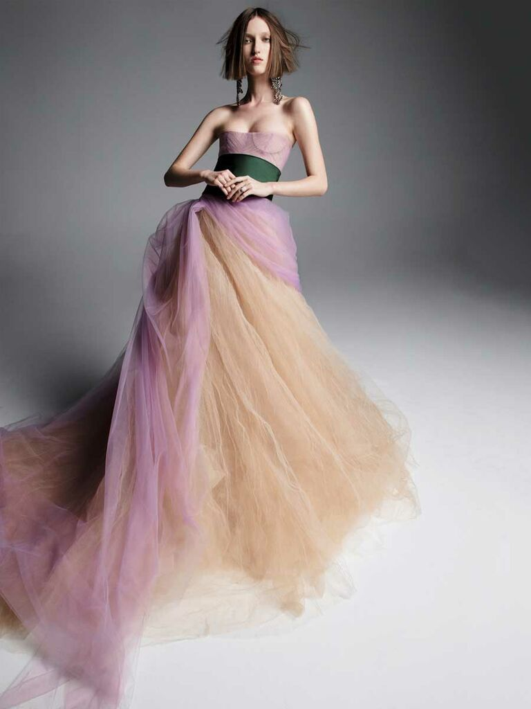 bdadde229bbf2 Vera Wang Spring 2019 nude, purple and green strapless ball gown wedding  dress