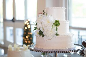 White Floral Decorated Three-Tier Cake