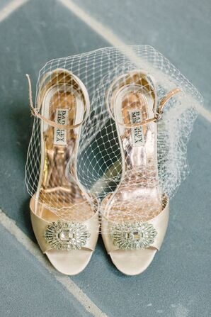 Ivory Badgley Mischka Wedding Shoes with Brooch Detail