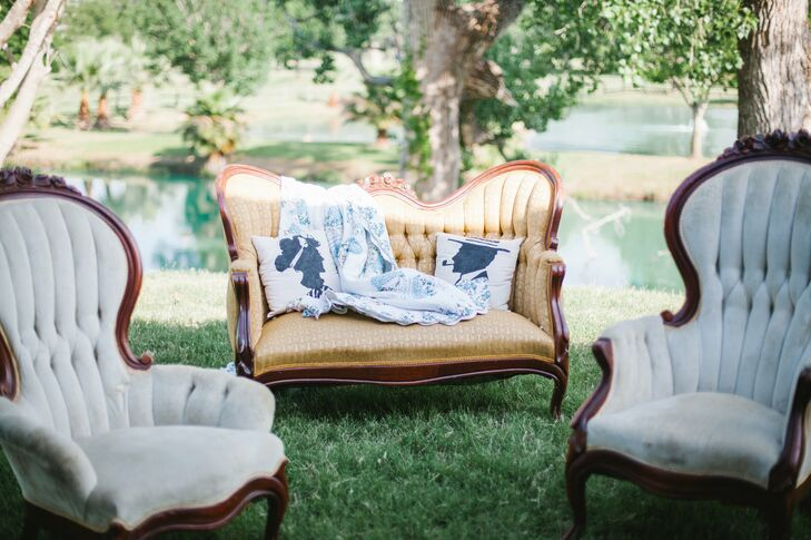 Vintage lounge furniture gave guests a place to rest and chat over cocktails between the ceremony and reception.
