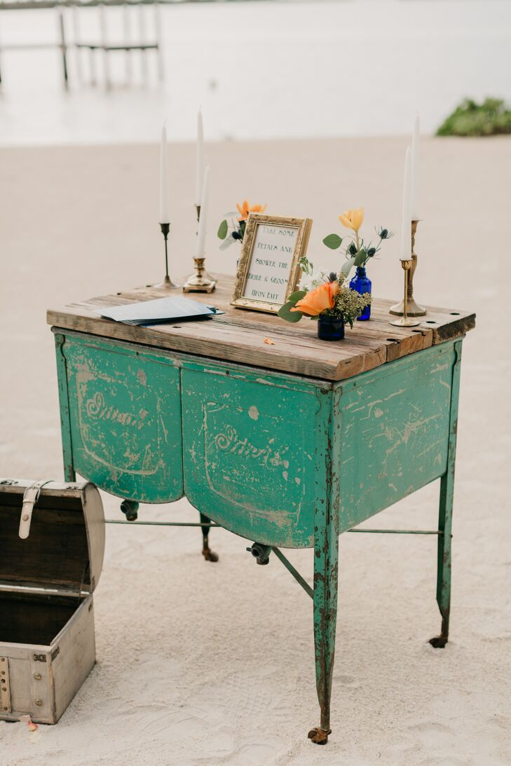 Vintage Dresser on the Beach with Guest Book