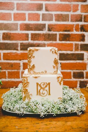 Square Wedding Cake with Gold Leaf Detail