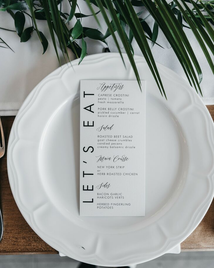 Minimalist Place Setting with Black-and-White Menu