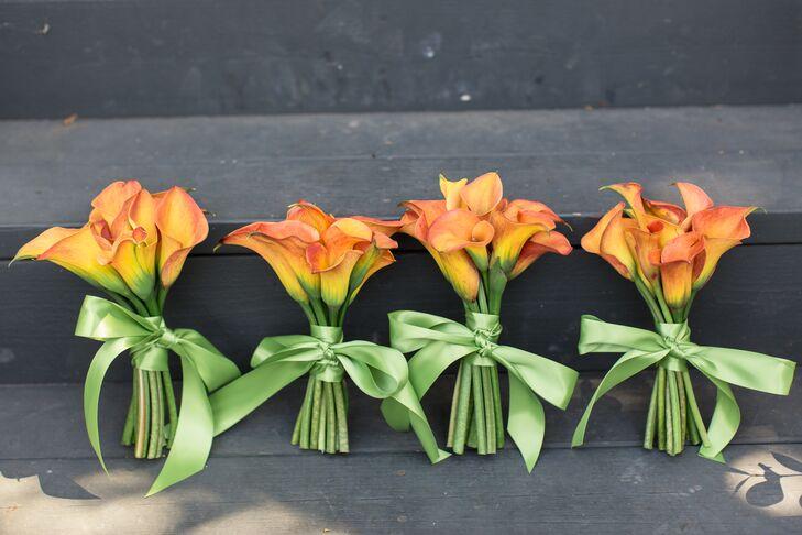 Orange Calla Lily Boutonnieres, Green Ribbon