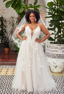 sweetheart strapless Beloved wedding dress with slit