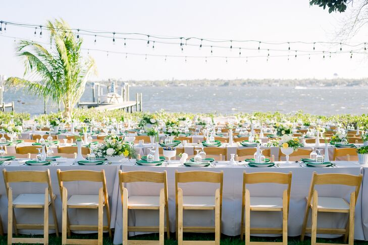 Casual Backyard Reception with String Lights and Neutral Linens